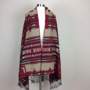 Southwest print brushed fabric fringed wrap